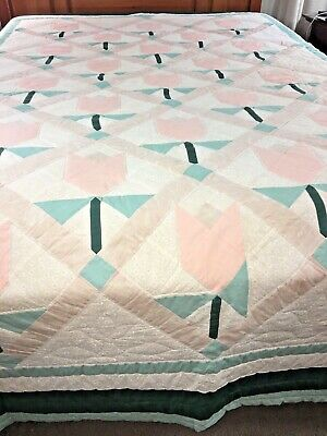 "Omg Vintage Beautiful Handmade Tulip Quilt 75"" X 107"" Signed Dated"