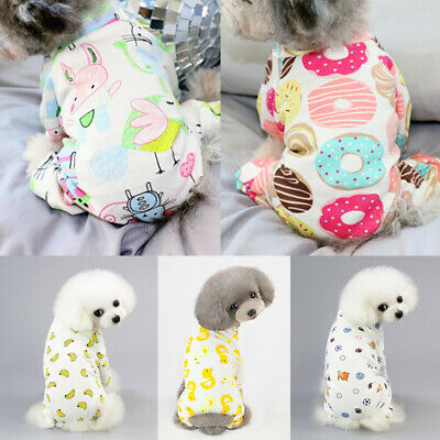 Embroidery Cute Cat Dog Pajamas Soft Cotton Small Pet Clothes Apparel Jumpsuit
