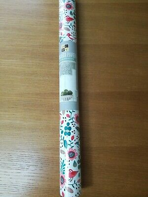 """DCWV Project Paper 22"""" x 120"""" Birds & Branches Floral Green Pink Decoupage Craft"""