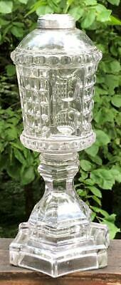 "Large Antique Sandwich Glass "" Waffle & Thumbprint""  Whale Oil Lamp, c. 1840"
