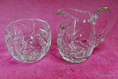 "Cut Glass (Pinwheel) 4"" CREAMER & 2 1/2"" OPEN SUGAR BOWL SET Exc"