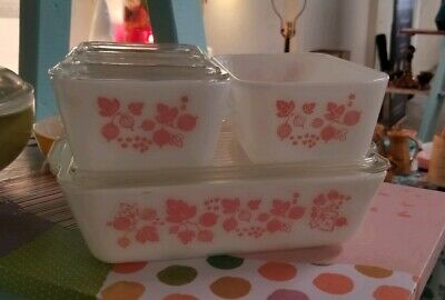 Vintage Pyrex Pink Gooseberry 7 Pc Refrigerator Set Fridge Lids 501 502 503