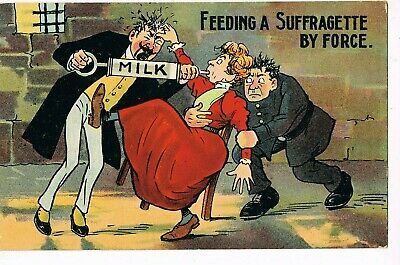 "ANTIQUE Postcard       ""FEEDING A SUFFRAGETTE BY FORCE"""