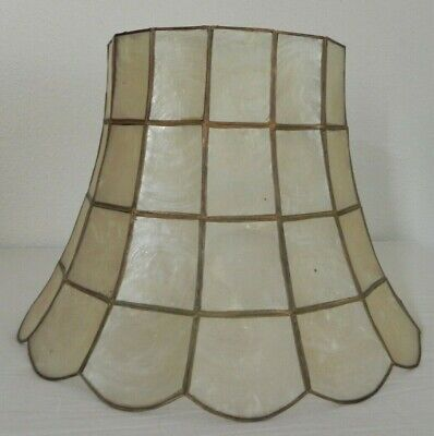 Vintage Capiz Shell Table Lamp Shade Retro 9 Tall 7 Top 12 Bottom