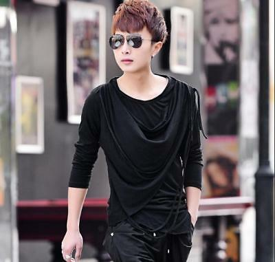 Mens Slim Fit Long Sleeve T-shirts Korean Crew Neck Casual T-shirts Loose 2019 Y