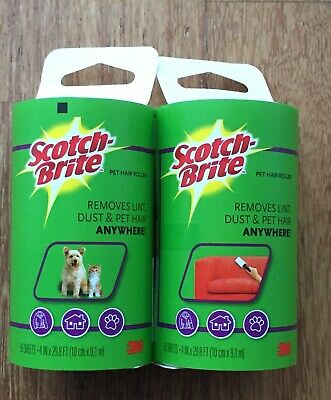 2 x 3M Scotch Brite Lint Roller Fluff Pet Hair Dust Remover Refil 56 sheets