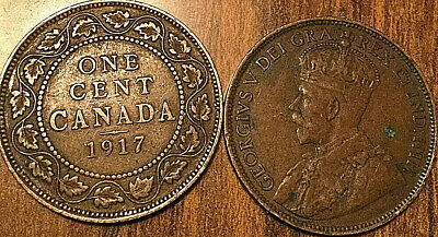 1917 Canada Large 1 Cent Coin Penny Vg-F Buy 1 Or More Its Free Shipping!