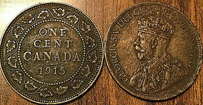 1915 Canada Large 1 Cent Coin Penny Vg-F Buy 1 Or More Its Free Shipping!
