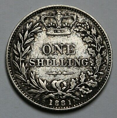 1881 UK Great Britain Shilling KM# 734.4 Sterling Silver Coin Rare