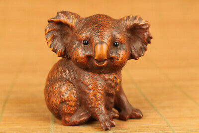 rare chinese old boxwood wood koala figure statue collectable hand piece gift