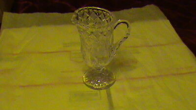 Vintage Crystal Cut Glass and etched, rose, 8 oz Cream Pitcher/Creamer  BR 5