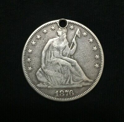 1876 .. Seated Liberty  Half Dollar  United States Silver Coin VG with hole