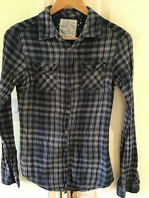 Fat Face Womens Check Shirt Size 10 Blue Midnight Good Condition