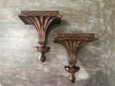 Pair Vintage Antique Wall Brackets Shelf Display