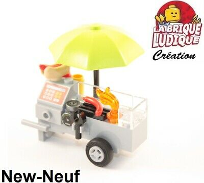 Lego stand chariot vendeur hot dog saucisse barbecue BBQ parasol caisse NEUF