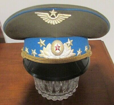 Vintage Soviet Russian Visor Hat Air Force Officer Parade Cap with Blue Trim