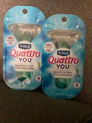 Lot of 2 Schick Quattro YOU Sensative Women's 4 Blade Disposable Razors