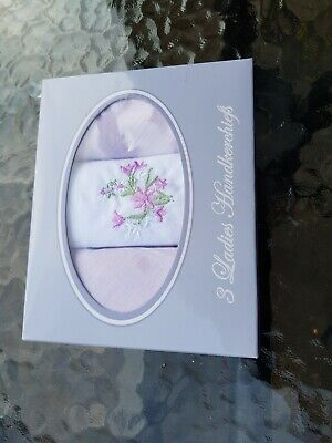 Set of Three Vintage Deadstock Ladies Embroidered Lilac Handkerchiefs