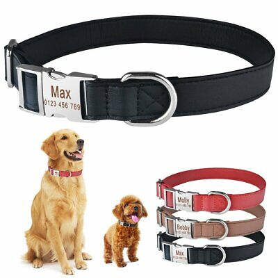 Leather Custom Dog Collar Personalised Heavy Duty Buckle ID Name Tag Engraved