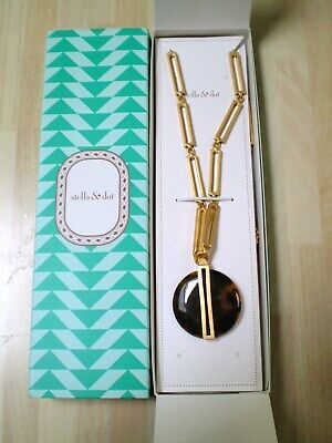 Stella & Dot~Fab *Jaya* Gold & Faux Tortoise Shell Pendant & Chain~Boxed~New