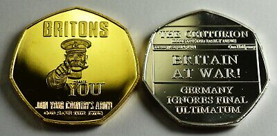 Pair BRITAIN AT WAR 1914 NEWSPAPER Collectors Token/Medal Fine Silver, 24ct Gold