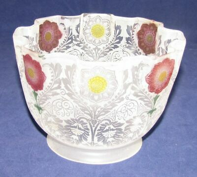 """Antique Acid Etched Glass Kerosene Oil Lamp Shade Cranberry Red & Yellow 3-1/4"""""""