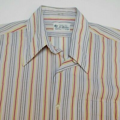 VINTAGE 1960s SIR WALTER NYLON POLY GROOVY HIPPIE SHIRT Mens 15-33 S Colorful
