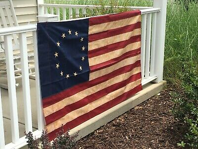 New Colonial Betsy Ross Tea Stained Flag  3' X 5' Thirteen Embroidered Stars