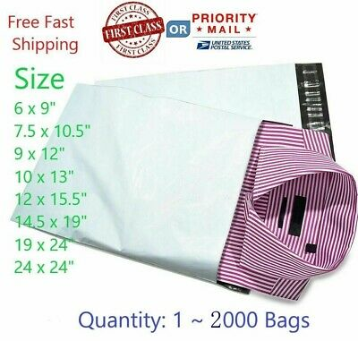 Poly Mailers Plastic Envelopes Shipping Bags 2.35 Mil White Premium USA seller