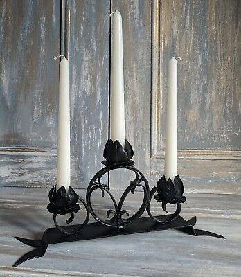 Genuine French Art Deco Wrought Iron Candelabra Candlestick  Gothic Influenced