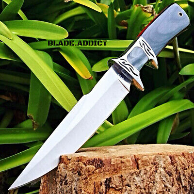 """10.25"""" Wood Hunting Survival Skinning Fixed Blade Knife Full Tang Army Bowie -S"""