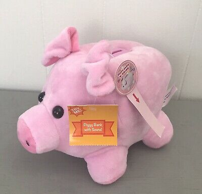 "10"" CUTE Plush Piggy Bank Large Pig Stuffed Animal Pink with SOUND and STOPPER"