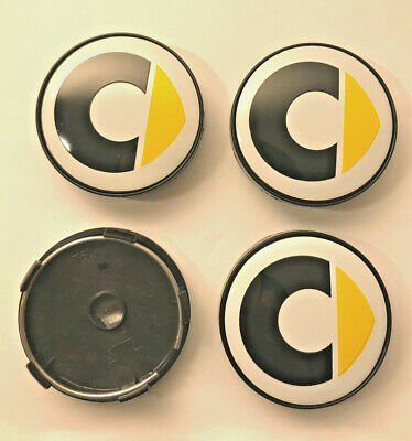 4 x Smart 60mm / 57mm Wheel Centre Hub caps White / Yellow New Emblems Top Stock