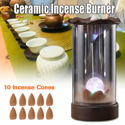 Ceramic Backflow Incense Burner Smoke Cones Holder Sticks Censer Clay Sandalwood