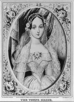 Photo: Tiny waist,The young bride,woman in wedding dress,veil,June 16,c1846