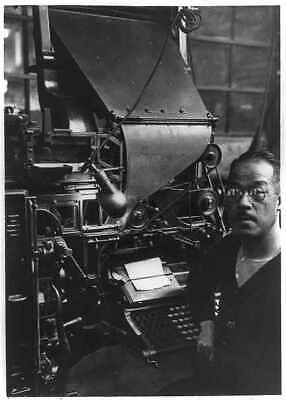 Photo of First Linotype Machine and its operator,c1936,Printing,Inventions