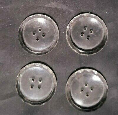 "4 Vintage Cut Glass Edge 4-Hole Flat Sew- Thru Clear Buttons - 1"" Across"