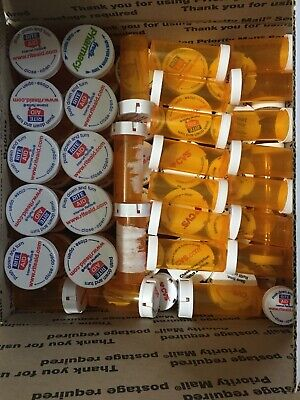 Empty Amber Pill Prescription Rx Bottles  Lot 85 Different Sizes