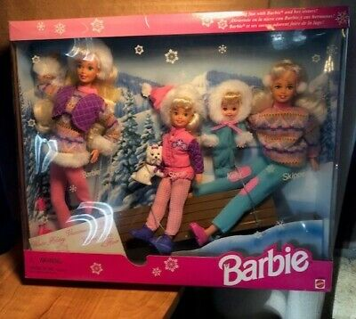 Winter Holiday 1995 Barbie Doll And Sisters Skipper Stacie Kelly Sleigh Gift set