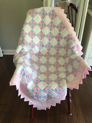 """Vintage Pink & Blue Nine Patch Baby Quilt 42"""" X 39"""" 7 spi 5 Star Free Shipping"""