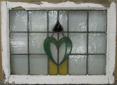 "MIDSIZE OLD ENGLISH LEADED STAINED GLASS WINDOW Pretty Crest Design 24.75"" x 18"""