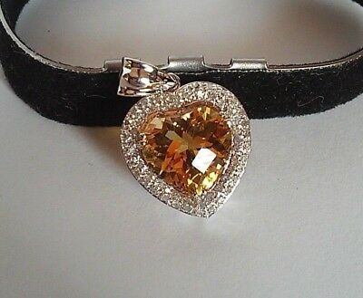 Solid 14K White Gold Large Citrine Heart Pendant with Diamond Accents