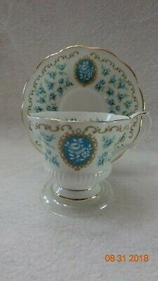Royal Albert Tea Cup Saucer set Cameo Series Pattern is Treasure Teal and Gold