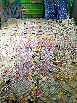 vintage cotton quilt topper 70'' by 80'' cutter