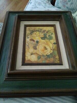 Vintage Framed Yellow Roses Oil Painting On Canvas 1979 SIGNED by the Artist .