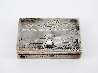 1930's Mexican Sterling Engraved Pill Box Snuff Box