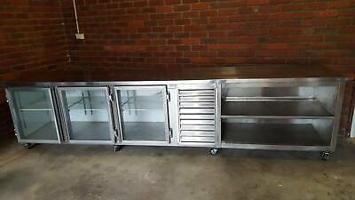 Three Door Commercial (Under Counter) Fridge with extra Shelving