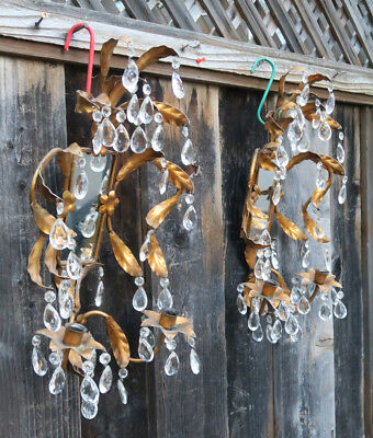 Pair Antique Italian Tole Mirror Hollywood Regency candle Sconce vintage crystal