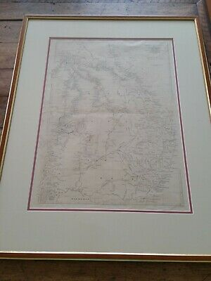 Map of Three Expeditions in search of Burke & Wills1863 Framed VGC