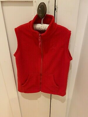 Kids Unisex Size 5 H&T Red Fleece Sleeveless Zip Front Vest